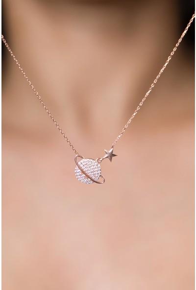 Elika Silver Kadın Gezegen Model Zirkon Taşlırose Kaplama 925 Ayar Gümüş Kolye