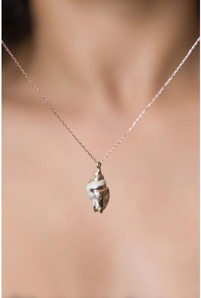 Elika Silver Kadın Deniz Kabuğu Modelrose Kaplama 925 Ayar Gümüş Kolye