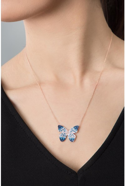 Elika Silver Kadın Renk Akışlı Kelebek Kolye 925 Ayar Gümüş Kolye