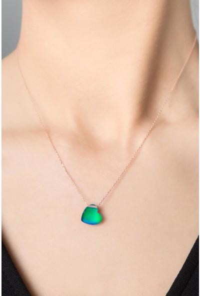 Elika Silver Kadın His Taşı Kalp Model Rose Kaplama 925 Ayar Gümüş Kolye