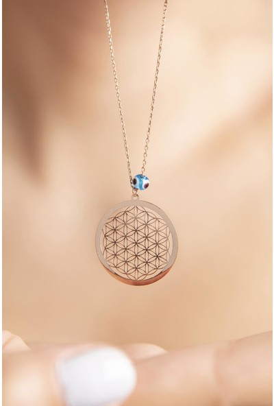 Elika Silver Yaşam Ağacı Nazar Boncuklu Rose Kaplama 925 Ayar Gümüş Kolye