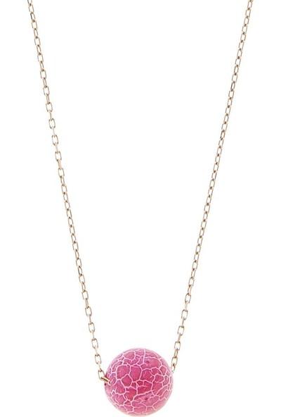 Elika Silver Pembe Doğal Taşlı 925 Ayar Gümüş Kolye