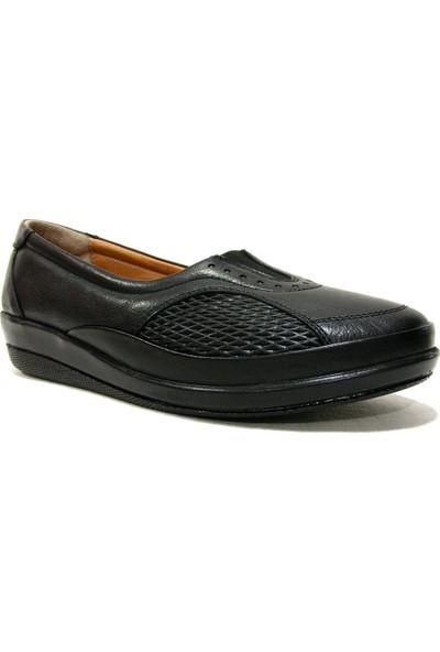 Drongo 123 Siyah Deri Anatomik Comfort Kadın Ayakkabı