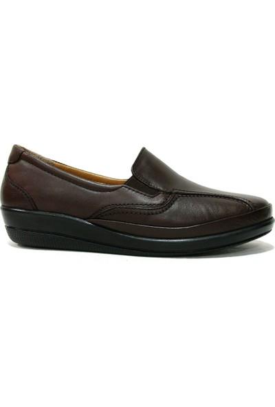 Drongo 165 Kahverengi Deri Anatomik Comfort Kadın Ayakkabı