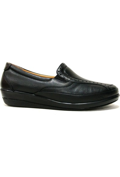 Drongo 165 Siyah Deri Anatomik Comfort Kadın Ayakkabı