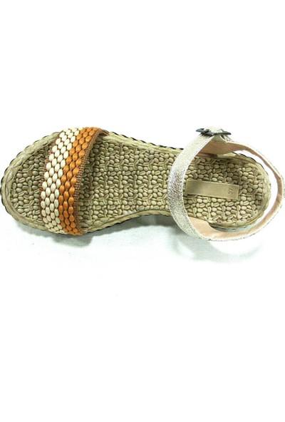 Shoepi 23234 Bej Camel Anatomik Kadın Sandalet