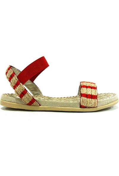 Shoepi 23235 Bej Kırmızı Anatomik Kadın Sandalet