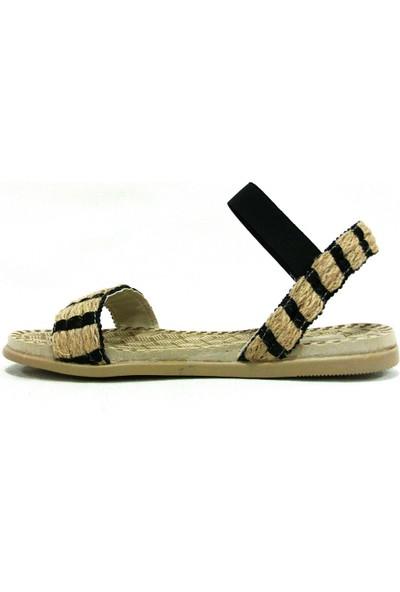 Shoepi 23235 Bej Siyah Anatomik Kadın Sandalet