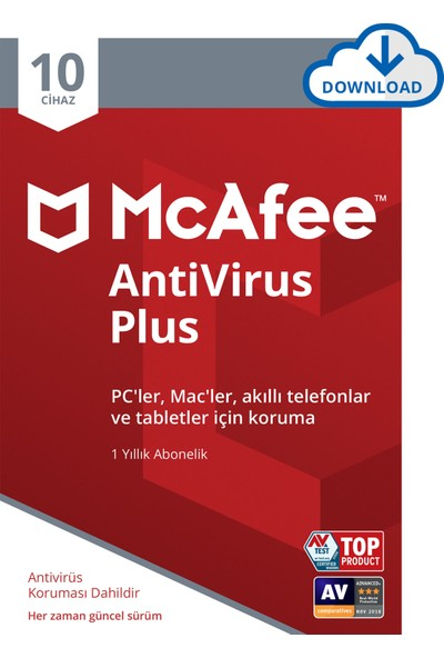 McAfee AntiVirus Plus 10 Cihaz Windows, iOS ve Android