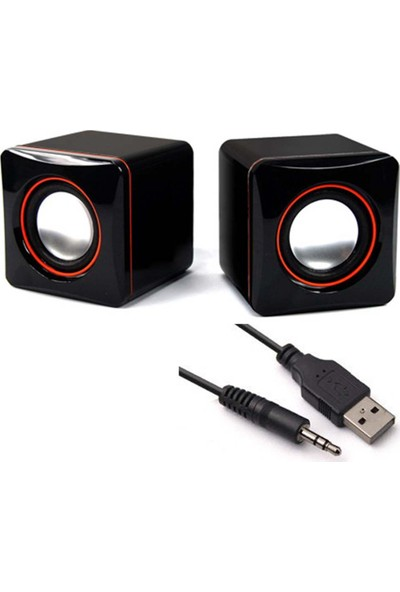 Wonderlust Multimedya 1+1 Mini Pc Hoparlör 2.0 USB Speaker 2.5W