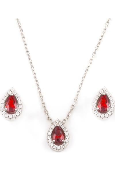 Afrodit Silver Kırmızı Taşlı Damla Kolye Küpe Gümüş Set