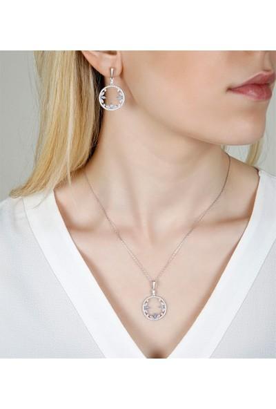 Afrodit Silver Doğal Safir Taşlı Kolye Küpe Gümüş Kadın Set