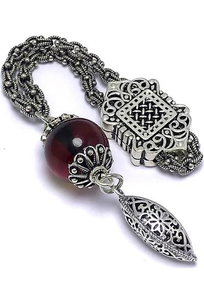 Midyat Nurtaş Gümüş Özel Tasarım Kehribar Taşlı Gümüş Anahtarlık