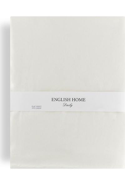 English Home Düz Pamuklu King Size Çarşaf 260X280 cm Kırık Beyaz