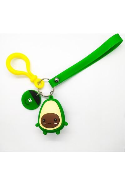 AlpCollection Yeşil Avokado Çekirdek Surat Plastik Kancalı 3 Boyutlu Anahtarlık