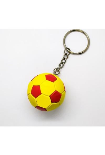 AlpCollection Galatasaray Sarı Kırmızı Futbol Topu Sert Plastik Anahtarlık