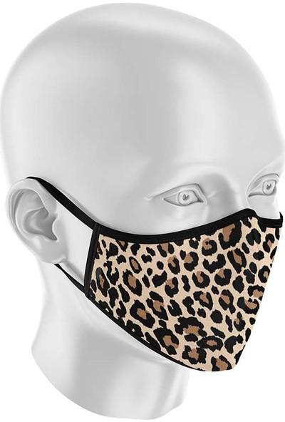 İpeks Bayan Yıkanabilir Kumaş Maske Leopar