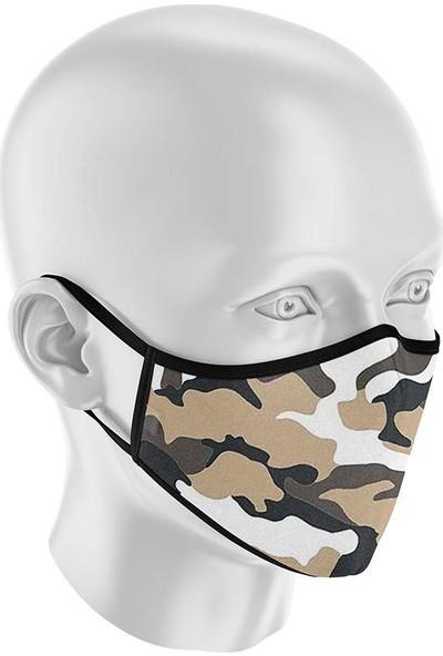 İpeks Unisex Yıkanabilir Kumaş Maske Kamuflaj