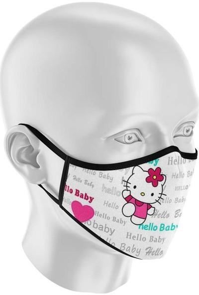 İpeks Çocuk Yıkanabilir Kumaş Maske Hello Baby