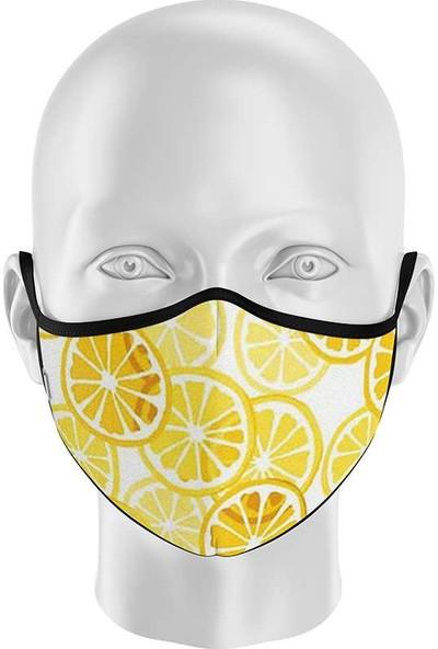 İpeks Unisex Yıkanabilir Kumaş Maske Limon