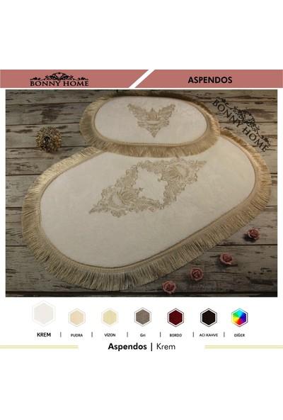 Bonny Home Aspendos Krem 2li Fransız Dantelli Çeyizlik Klozet Takımı Banyo Paspası Seti