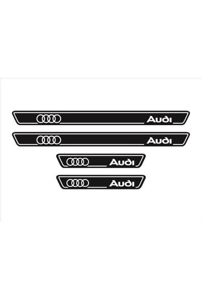Ömr Dizayn Hediye Audi Logolu 4'lü Kapı Eşiği Oto Aksesuar Beyaz