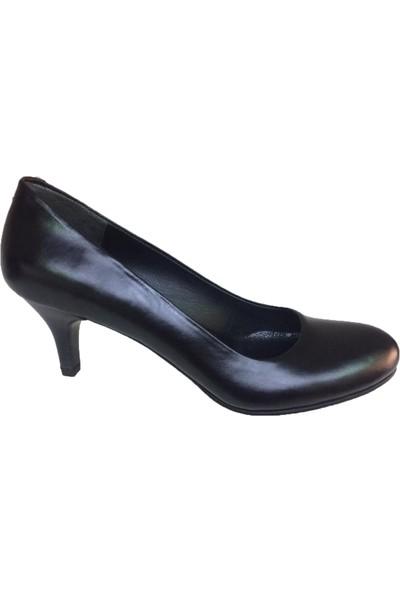 Elegan Siyah Deri Alçak Topuk Ayakkabı