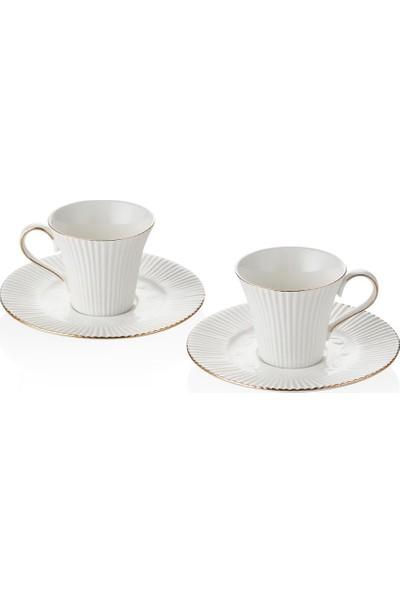 Bernardo 6 Kişilik Porselen Beyaz Kahve Fincan Takımı MD0036