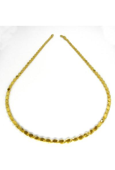 Bijuta Altın Kaplama Pullu Zincir Ince Model 62 cm Uzunluk