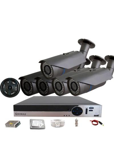 QROMAX PRO 2042 5'Li 5 Megapiksel Sony Lens 1080P Aptina Sensör Güvenlik Kamerası Seti