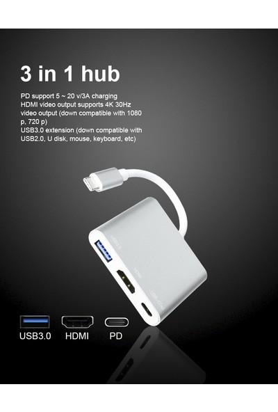 Livx 3 In 1 Type C To USB 3.0/4K HDMI/PD(Usb C ) Multi Functional Macbook ve Type C Çıkışlı Cihazlara Uyumlu Çevirici LVA-1032