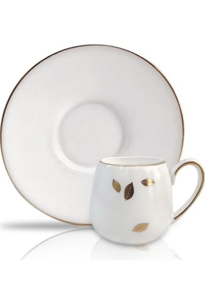 Winterbach Beyaz Altın Yapraklı 6'lı Türk Kahvesi Fincanı