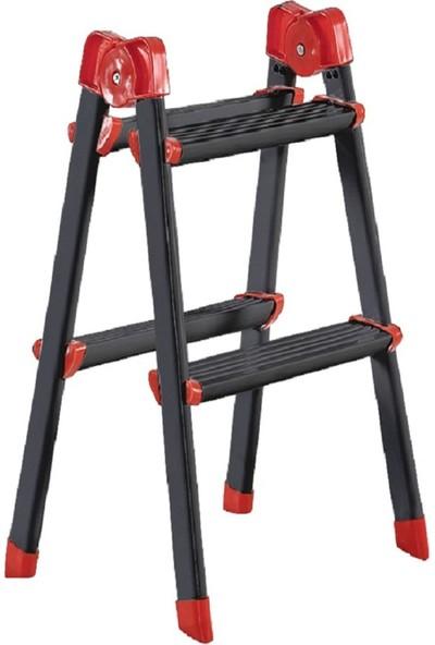 Elbe Siyah 2+2 Çift Çıkışlı Metal Merdiven