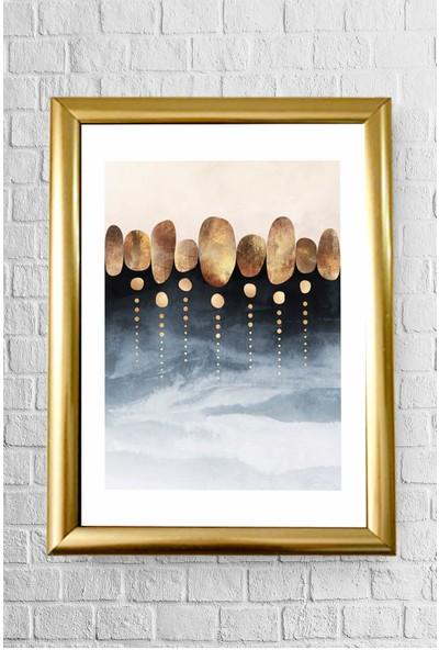 Lyn Home Decor Kahverengi Mavi Desen Çerçeveli Poster Tablo 23.5 x 33,5 cm