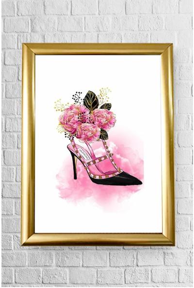 Lyn Home Decor Çiçekli Ayakkabı Çerçeveli Poster Tablo 23.5 x 33,5 cm