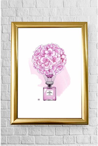 Lyn Home Chanel Parfüm Pembe Çerçeveli Poster Tablo 23.5 x 33,5 cm