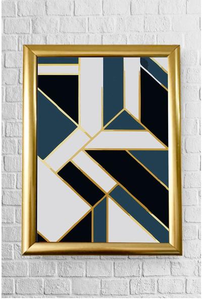 Lyn Home Mavi Beyaz Geo Çerçeveli Poster Tablo 23.5 x 33,5 cm