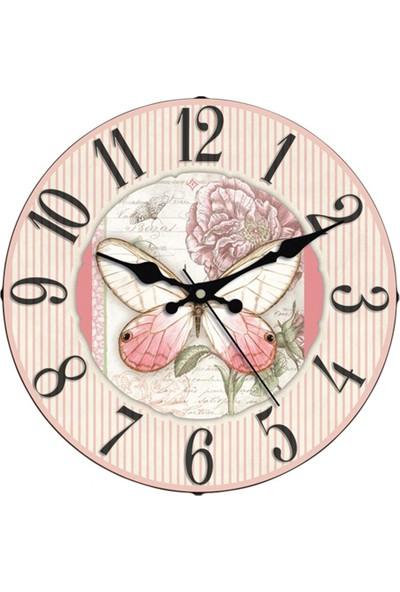 İş Saat Özel Tasarım 36 cm Bombeli Camlı Dekoratif Duvar Saati