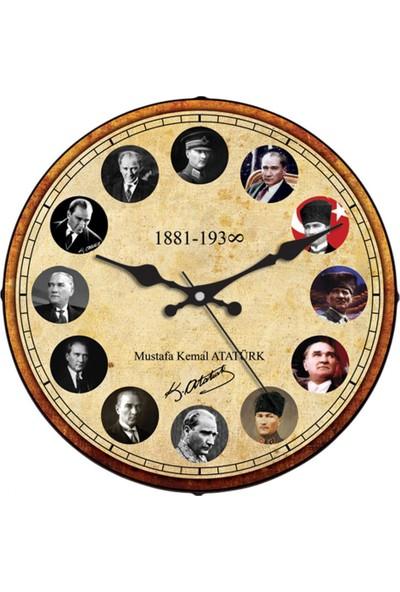 İş Saat Atatürk Fotoğrafları 36 cm Bombeli Camlı Dekoratif Duvar Saati