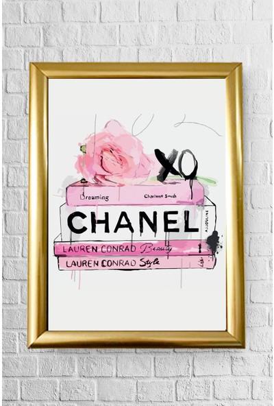 Lyn Home Decor Chanel Kitaplar Çerçeveli Poster Tablo 23.5 x 33,5 cm