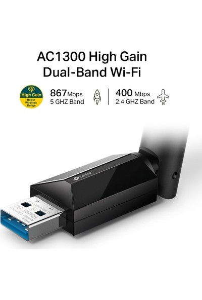 TP-Link Archer T3U Plus AC 1300 Mbps High Gain Wireless Dual Band USB Adapter