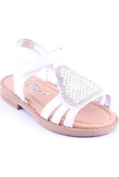 Akıllı Şirin Taş İşlemeli İnci Döşeli Kız Çocuk Sandalet Beyaz