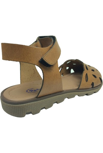 Raduno Filet Kız Sandalet Sandalet Kahverengi Önü Delikli Lazerli Bilekten Cırtlı Deri