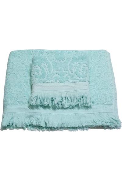 Mavi Yelken Ikili Banyo Havlu Takımı Açık Yeşil