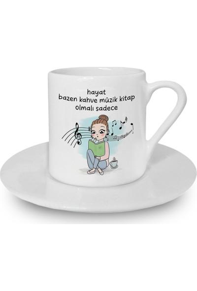 Flustore Hayat Bazen Kahve Müzik Kitap Karikatür Kız Türk Kahvesi Fincanı