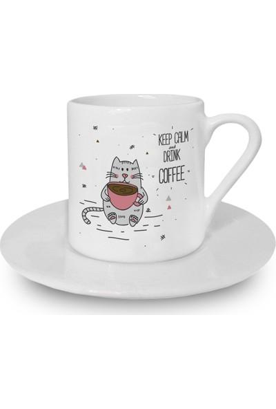Flustore Kedi Sakin Ol ve Kahve Iş Türk Kahvesi Fincanı