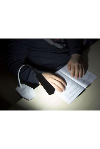 S-Link SL-8720 Beyaz Mandallı 14 LED Şarjlı Taşınabilir Masa Lambası