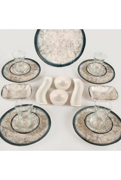 Keramika 19 Parça 4 Kişilik Ege Bulut Mat Kahvaltı Takımı
