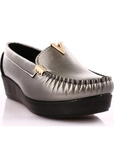 Dgn 021 Kadın Pu Dolgu Taban V Tokalı Ayakkabı 20Y