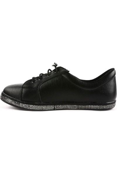 Dgn 1053 Kadın Taban Silver Taşlı Lastik Bağlı Ayakkabı 20Y